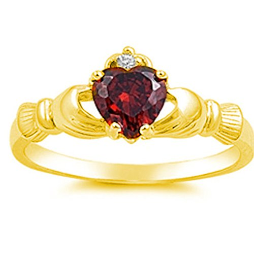 (Blue Apple Co. 925 Sterling Silver Claddagh Ring Yellow Tone Rhodium Plated Heart Shaped Simulated Garnet and Clear CZ)