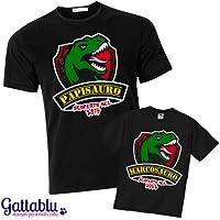 T-shirt di coppia padre e figlio PAPISAURO e BIMBOSAURO, PERSONALIZZABILI con il nome (o i nomi) e le date di nascita! Dinosauri divertenti! Per papà e bimbo appassionati di JurassicPark!