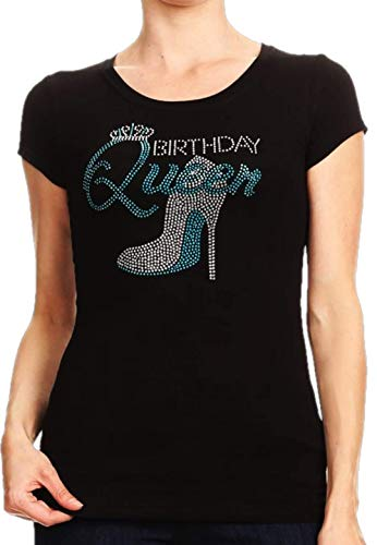 L'Diva Couture Boutique Sparkling Rhinestone Birthday Queen Tee (Medium) - Couture T-shirt Rhinestone