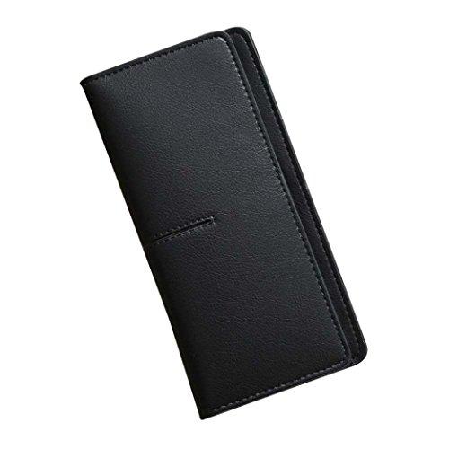 LHWY Mujer Sencillo Retro Monedero largo de Hasp Monedero Portatarjetas Bolso Negro