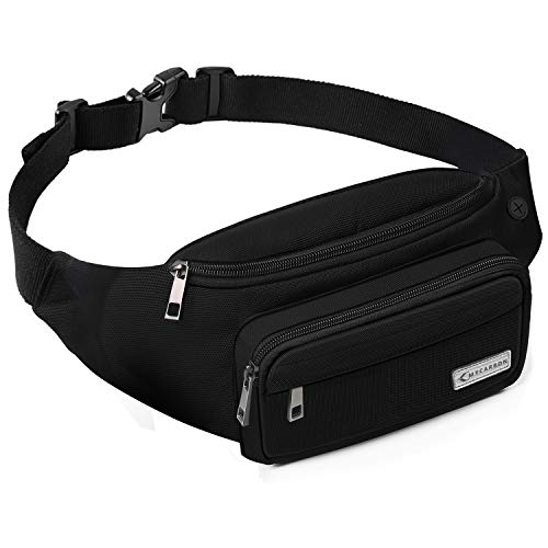 (MYCARBON Fanny Pack for Men and Women, Large Fanny Pack Waist Pack Bag Cute Hip Bum Non-Bounce Belt Non-Slip Cotton Durable Pouch with Adjustable Strap for Outdoors Casual Travel Hiking Black)