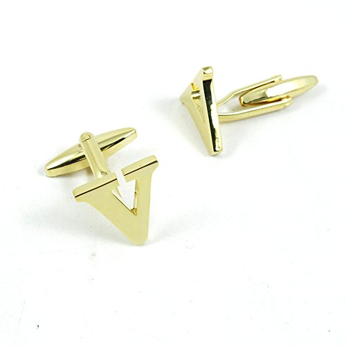 50 Pairs Cufflinks Cuff Links Fashion Mens Boys Jewelry Wedding Party Favors Gift 148UR0 Golden Letter V by Fulllove Jewelry