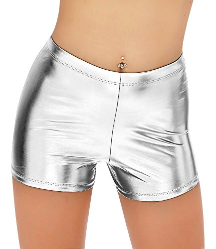 NIliker Women Leather Wet Look Metallic Shorts Shiny Bottoms (Small, Ni21027 Silver) -