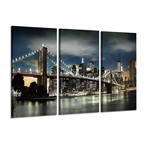 - Cityscape Artwork Landscape Reflection Paintings : NYC Brooklyn Bridge and Skyscrapers with Lights at Night Graphic Art Prints on Wrapped Canvas Set