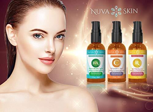 41KDJ8at6ML - Nuva Skin Facial Serums 3 Pack- Vitamin C Serum, Retinol Serum & Hyaluronic Acid Serum- All-Natural Face Serum