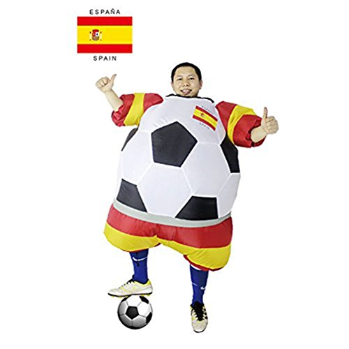 sport fitness Inflatable Costume Spain Football Player Halloween Costume for Adults Soccer Costume Fancy Dress (Spain International Costume)