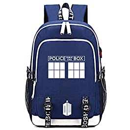 Timmor Dr Who Laptop Backpack with USB Charging Port, Middle School College Bookbags for Women Men.