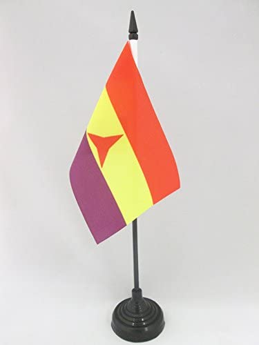 Internationale Brigades Spaanse Republiek Tafelvlag 15x10 cmSpanje RepublikeinPopulaire Voortafelvlag 15 x 10 cmZwarte plastic stok en voetAZ FLAG
