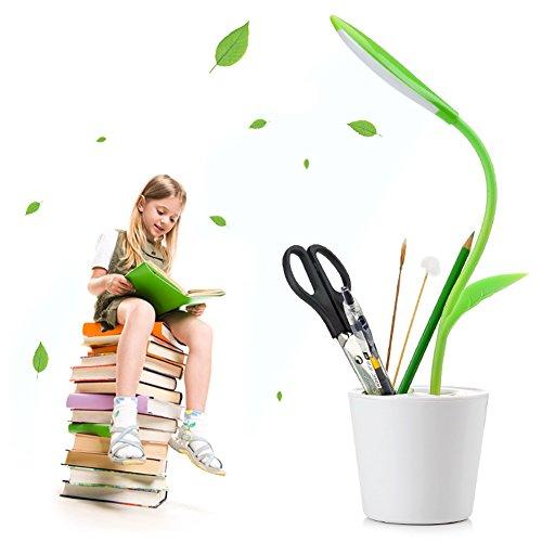 GHB USB LED Schreibtischlampe Augenschutz 3 Helligkeitsstufen Berührungsempfindliche dimmbar mit Sapling Stifthalter für Kinder und Erwachsener Grün