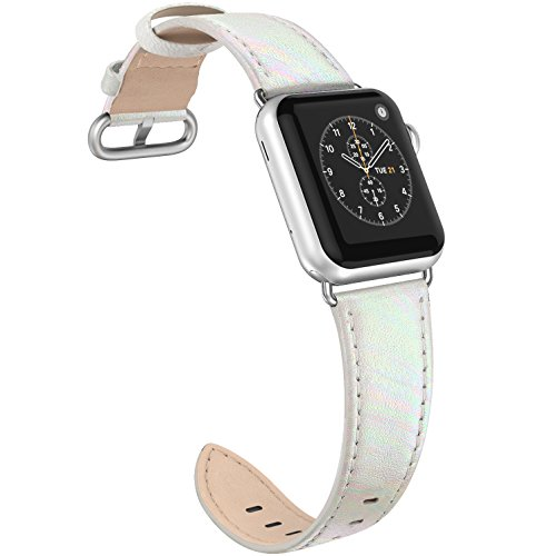 SWEES for Apple Watch Band 38mm Leather women, iWatch Replacement Designer Design Dressy Accessories for Apple Watch 38mm Series 3, Series 2, Series 1, Sports & Edition, White with Colorful by SWEES