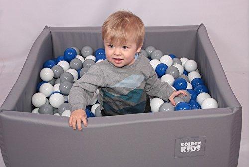 Golden Kids Bällebad Spielbälle Kinder Spielbecken Ball Bällepool ohne Bälle Beige Pink Türkis Grau (Grau)