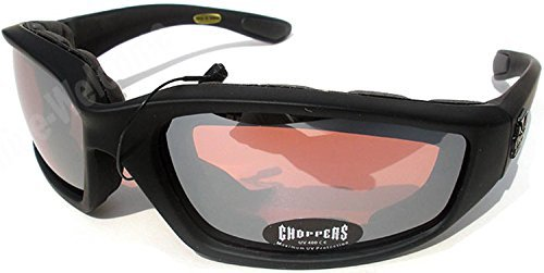 Night Driving Riding Padded Motorcycle Glasses 011 Black Frame with Yellow Lenses (Black - High Definition (Padded Glasses)
