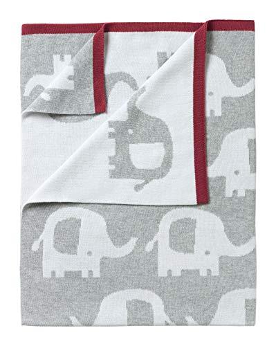 Clair de Lune Eli The Elephant Reversible Baby Blanket, Grey