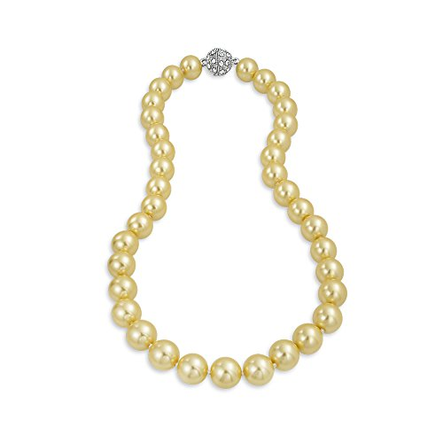 ated Champagne Pearl Bridal Necklace 18 Inches ()