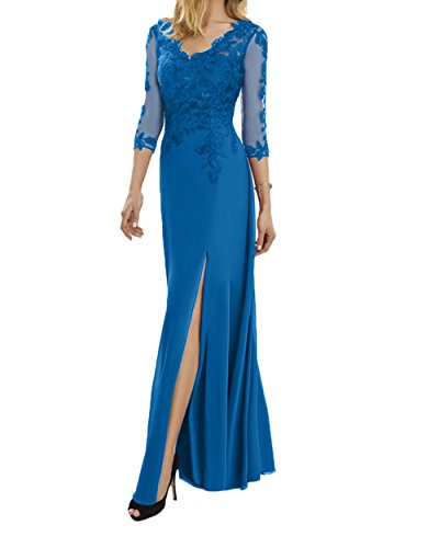 Fuchsia Langarm Ausschnitt Charmant Blau Brautmutterkleider Damen V Abendkleider Abschlussballkleider Spitze TSxqF5wEx