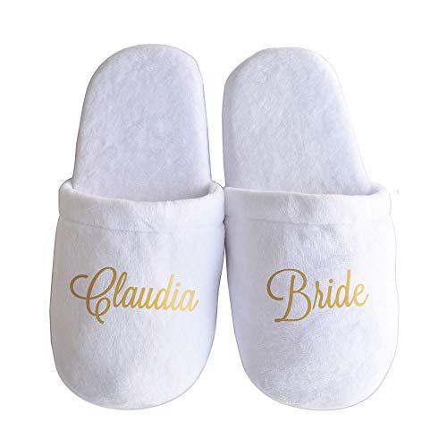 Bridal Party Personalised Bride Slippers bride Wedding Slippers Bridesmaid