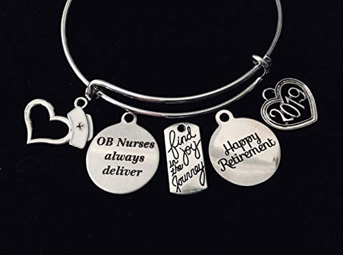 Happy Retirement OB Nurse Adjustable Charm Bracelet Expandable Silver Bangle One Size Fits All Gift Obstetrics Nurse Personalization and Custom Options Available