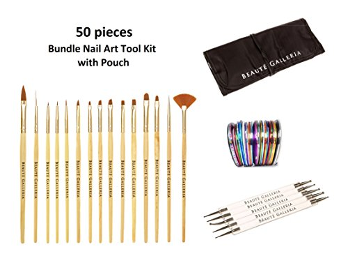 Beaute Galleria Bundle 50pcs Nail Art Tool Kit With Pouch: 5pcs Dotting Pen (10 Sizes), 15pcs Acrylic Gel Nail Art Detailing Painting Brushes Liners, 30pcs Mixed Color Striping Tapes