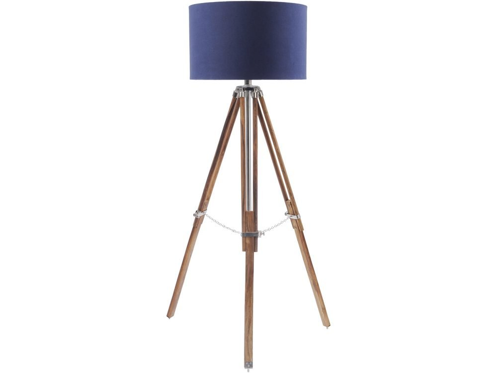 Rowley Natural Wood Tripod Floor Lamp with Navy Blue Shade