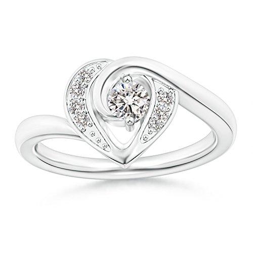 2-Prong Set Solitaire Diamond Swirl Heart Ring for Women in 14K White Gold (Color: I-J, Clarity: I1-I2) - 14k Wg Diamond Swirl Ring