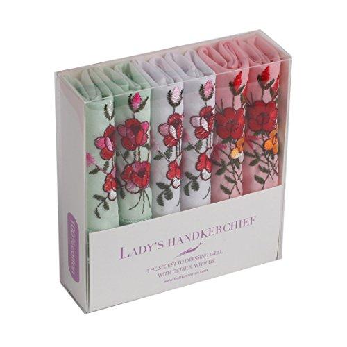 (FashionOn FEC0204 White Light Green Patterned Hankies Light Pink Pure Cotton Valentines Gift Idea 6 Handkerchiefs Set)