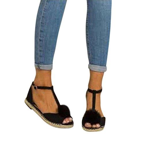 Poissons Bonbon Été Décontractée Noir de Couleur de SANFASHION Bouche Mode Doux Bohême Plate Femme Sandales Shoes Chaussures Printemps Talon Hairball Plage 7wn4EHq