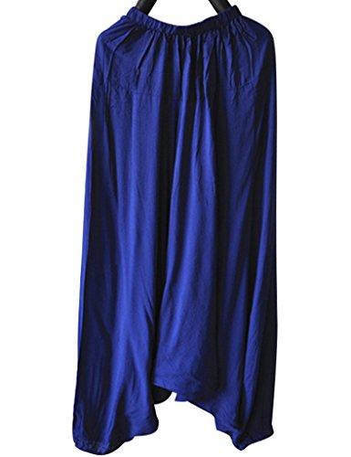 Youlee Mujeres Verano Cintura Elástica Pantalones Harem Deep Blue