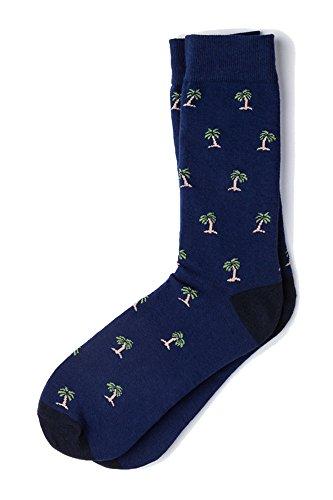 Men's Tropical Waving Palm Trees Novelty Crew Dress Socks (Navy Blue)