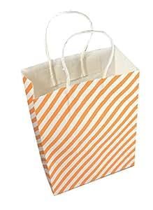 100 pcs set Kraft Paper bag white and orange diagonal stripes, each of size 16(L) X 22(H) cm