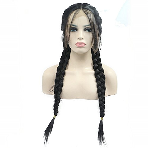 Double Braided Wigs with Baby Hair Natural 2# Black Brown Color 2x Twist Braids Wig Long Synthetic Hair Heat Resistant Handmade Lace Front Wigs for Women Girls Replacement Synthetic Wig 24inches