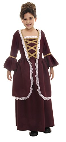Underwraps Colonial Girl Child XL Historical Costume Brown