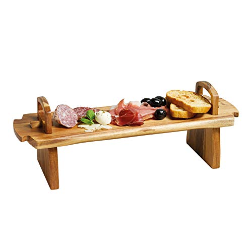 (Kitchencraft Masterclass Artesà Raised Wooden Serving Platter, 37 x 12 x 13cm)