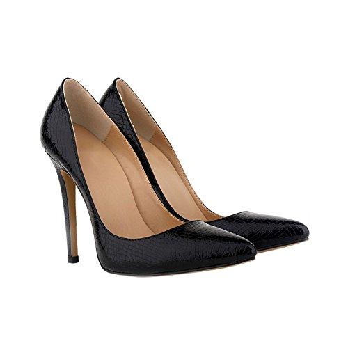 Zhuhaixmy Mode Damen Klassisch Krokodil-Muster 11CM High Heels Stilettos Spitz Schuhe Black