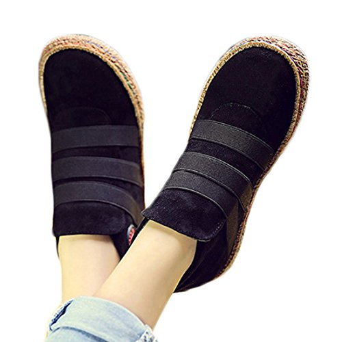 Befavors Women Spring Autumn Elastic Slip On Pure Color Ankle Flat European Style Boots Black 7.5-8US