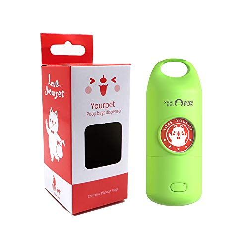 YOURPET Dog Poop Bag Dispenser with Waste Bags(15 Bags), LED Flashlight Dog Waste Bag Dispenser Holder
