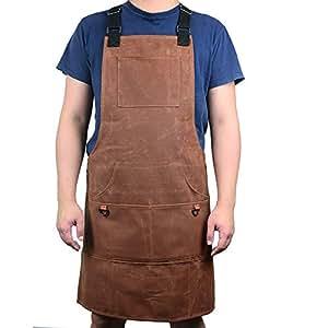 Delantal de lona encerada resistente con bolsillos, ajustable, para ...