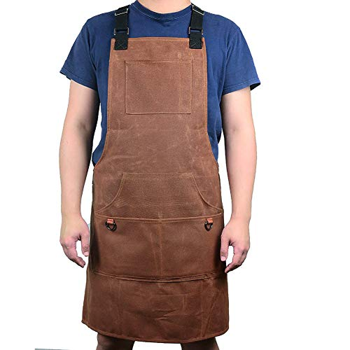 Professional Waxed Canvas Work Apron, Heavy Duty Protective Tool Apron, Adjustable &Waterproof Shop Apron For Men And Women (HSW-065-C)