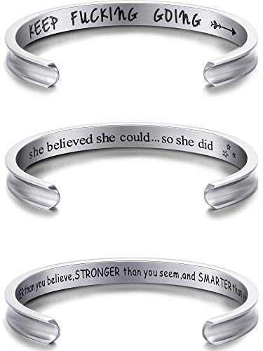 (Chuangdi 3 Pieces Inspirational Cuff Bracelets Set for Women Stainless Steel Bracelet Bangle Personalized Engraved)