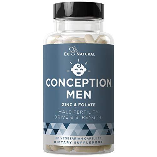 Conception Men Fertility Vitamins - Male Optimal Count, Sperm Motility Strength, Healthy Volume Production - Zinc, Folate, Ashwagandha Pills - 60 Vegetarian Soft Capsules