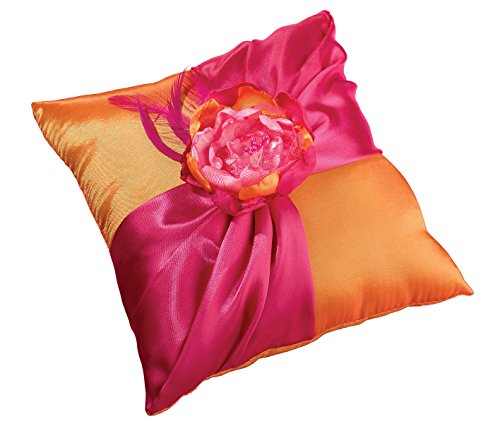 Lillian Rose Hot Pink Orange Fancy Wedding Ring Pillow]()