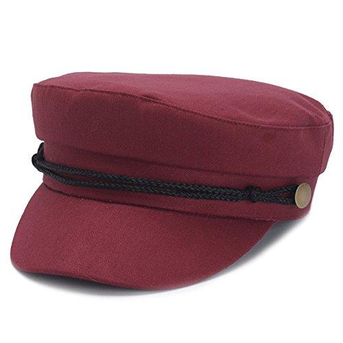 Cotton Ivy Hat - Classic Spring Summer Womens Newsboy Cap Cotton Cabbie Ivy Beret Hats for Women (Burgundy)