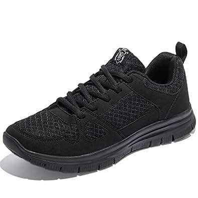 NewDenBer Men's Lightweight Cross-Traning Running Shoe (6 UK, All Black)