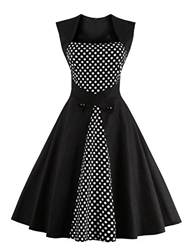 womens floral dresses Retro Fashion 1950's Inspired Rockabilly A-ling BLACK (50 Outfits)