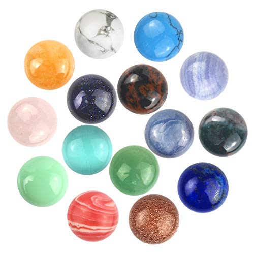Gemstone Mix Kinds of Jasper Agate Round Shape Ring face Cabochon CAB Flatback, DIY Jewelry (12mm)