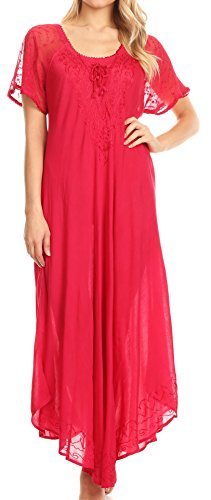 Sakkas 16602 - Shasta Lace Embroidered Cap Sleeves Long Caftan Dress/Cover Up - Fuchsia - ()
