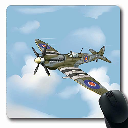 LifeCO Computer Mousepad Blue Plane Detailed Drawing Supermarine Spitfire Ww Pilot Vintage Fighter Ww2 Army Airplane War Oblong Shape 7.9 x 9.5 Inches Oblong Gaming Non-Slip Rubber Mouse Pad Mat