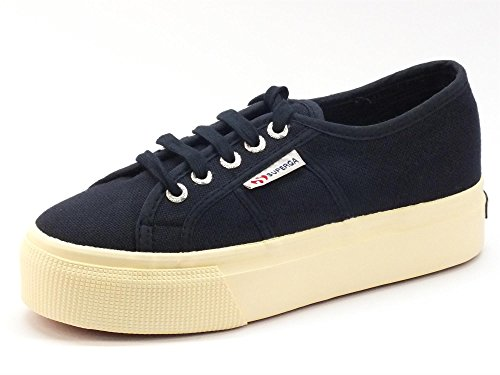 Superga Womens 2790 Acotw Linea Up And Down Navy Canvas Shoes (Large Image)