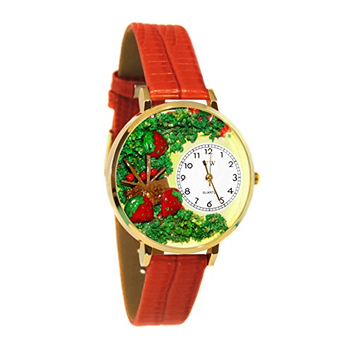 Whimsical Watches Women's G1210006 Strawberries Red Leather Watch ()