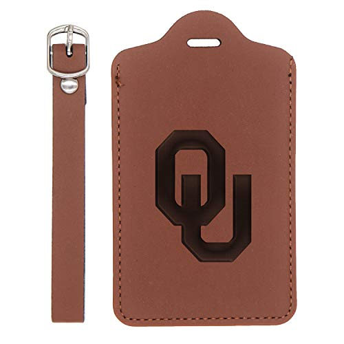 Oklahoma Sooners - Synthetic Leather Luggage Tag (In Premium Walnut) - United States Tandard - Handcrafted By Mastercraftsmen - For Any Type Of Luggage, Suitcases, Gym Bags