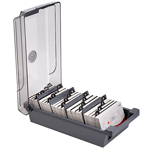 MaxGear Business Card File Business Card Holder Name Card Case Holder Card Storage Box Organizer, Large Capacity for 500 2.2